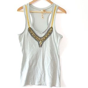 Eyeshadow • beaded jeweled blue racerback tank top